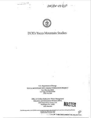 Primary view of object titled 'DOE`s Yucca Mountain studies'.