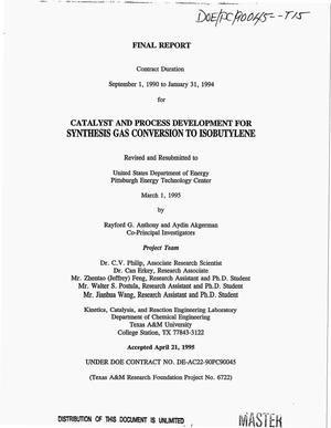 Primary view of object titled 'Catalyst and process development for synthesis gas conversion to isobutylene. Final report, September 1, 1990--January 31, 1994'.