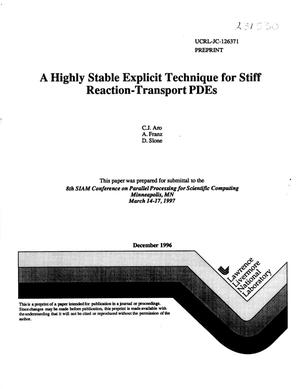 Primary view of object titled 'Highly stable explicit technique for stiff reaction-transport PDEs'.
