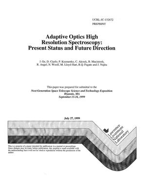 Primary view of object titled 'Adaptive optics high resolution spectroscopy: present status and future direction'.