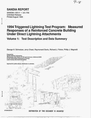 Primary view of object titled '1994 Triggered Lightning Test Program: Measured responses of a reinforced concrete building under direct lightning attachments'.