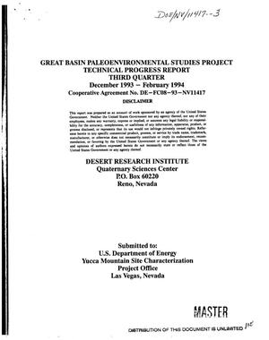 Primary view of object titled 'Great Basin paleoenvironmental studies project; Third quarterly technical progress report, December 1993--February 1994'.