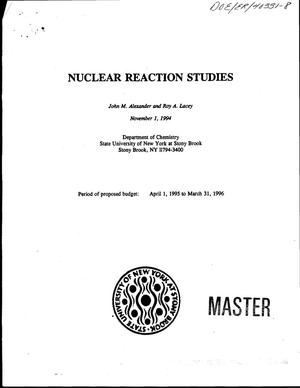 Primary view of object titled 'Nuclear reaction studies'.