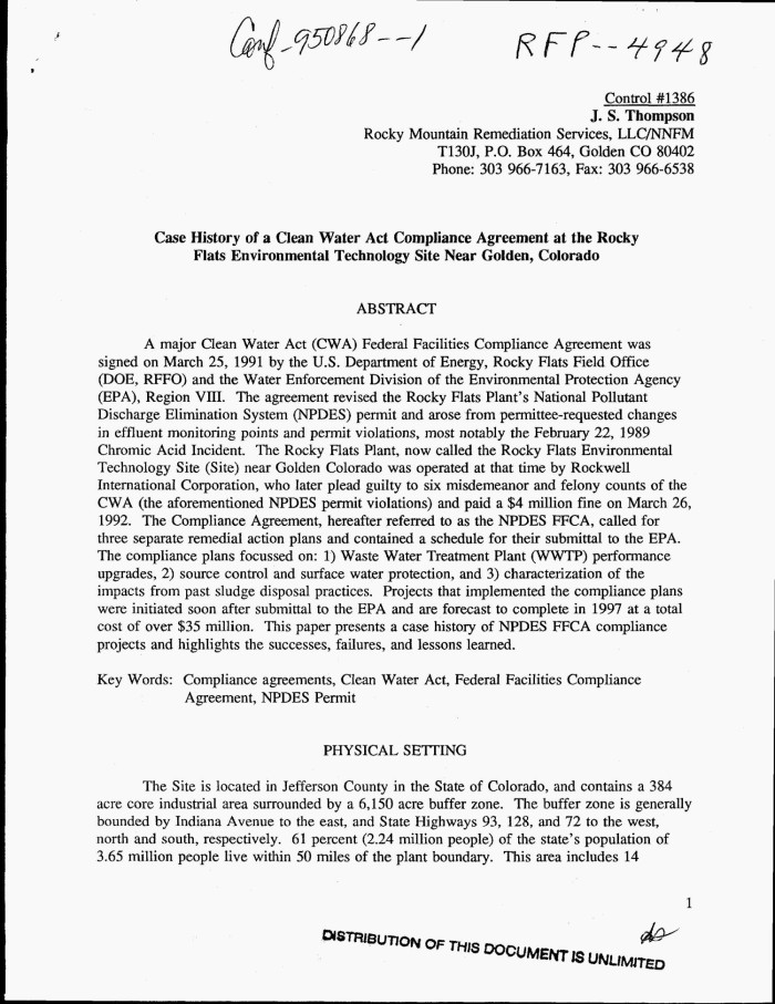 Case History Of A Clean Water Act Compliance Agreement At The Rocky
