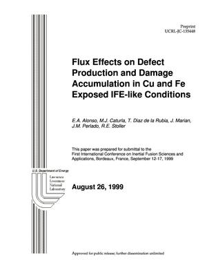 Primary view of object titled 'Flux effects on defect production and damage accumulation in cu and fe exposed to IFE-like conditions'.