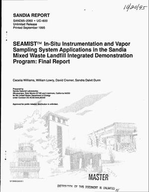 Primary view of object titled 'SEAMIST{trademark} in-situ instrumentation and vapor sampling system applications in the Sandia Mixed Waste Landfill Integrated Demonstration program: Final report'.