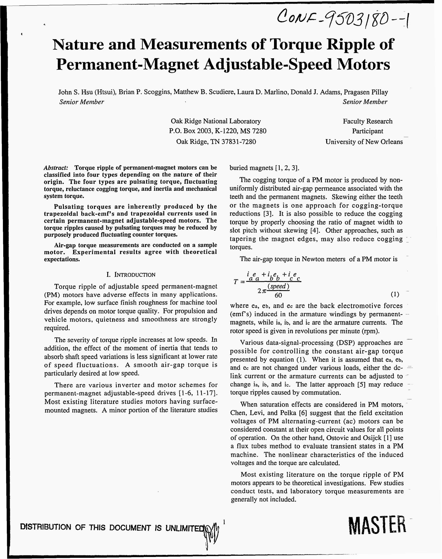 Nature and measurements of torque ripple of permanent magnet