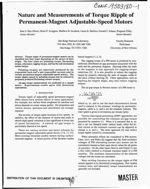 Primary view of object titled 'Nature and measurements of torque ripple of permanent-magnet adjustable-speed motors'.