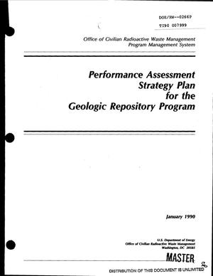Primary view of object titled 'Performance Assessment Strategy Plan for the Geologic Repository Program'.