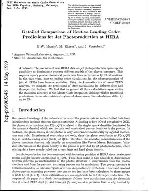 Primary view of object titled 'Detailed comparison of next-to-leading order predictions for jet photoproduction at HERA.'.