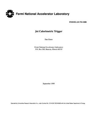 Primary view of object titled 'Jet calorimetric trigger'.