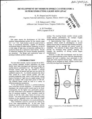 Primary view of object titled 'Development of niobium spoke cavities for a superconducting light-ion Linac.'.