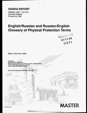Primary view of object titled 'English/Russian and Russian/English glossary of physical protection terms'.