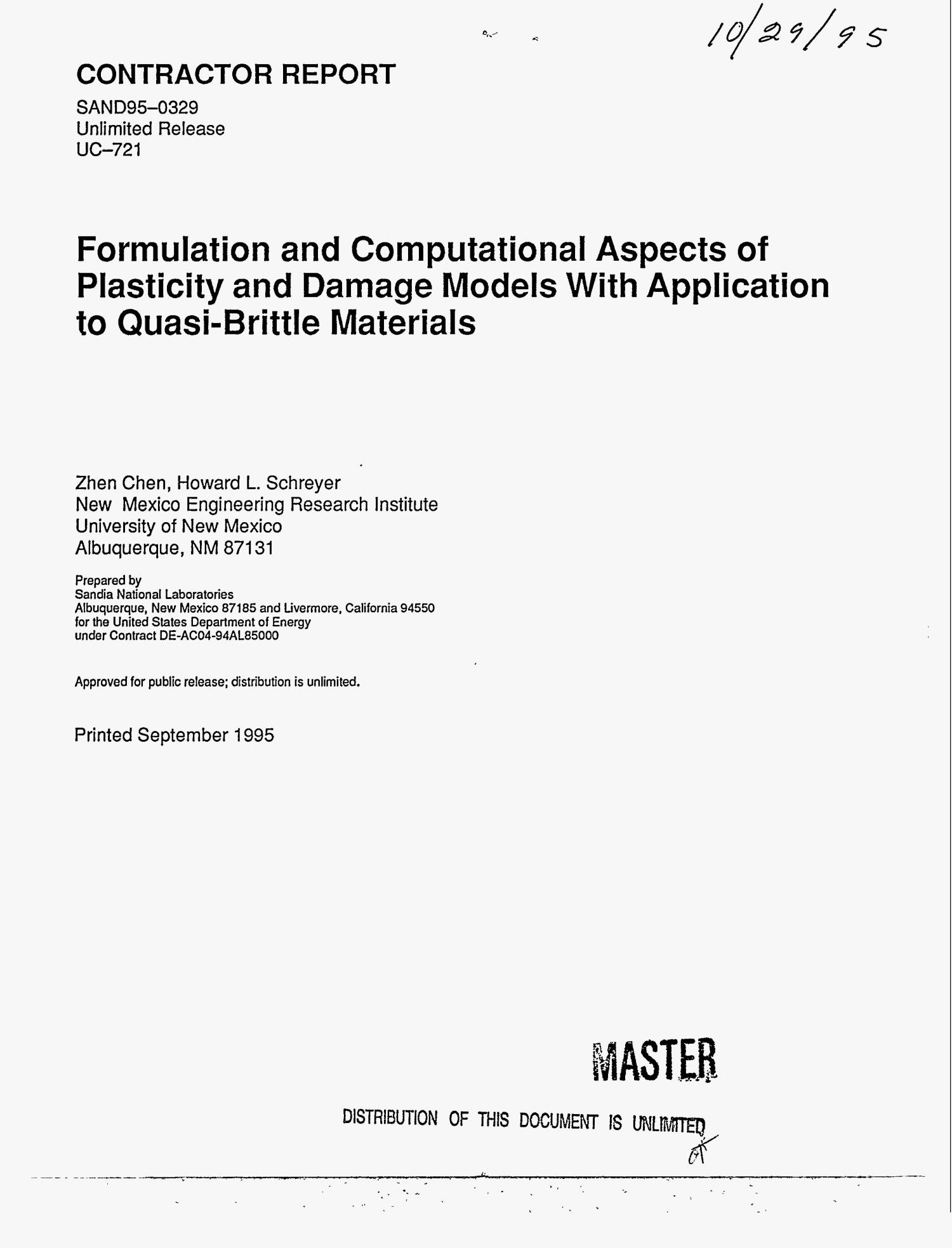 Formulation and computational aspects of plasticity and damage models with application to quasi-brittle materials                                                                                                      [Sequence #]: 1 of 120