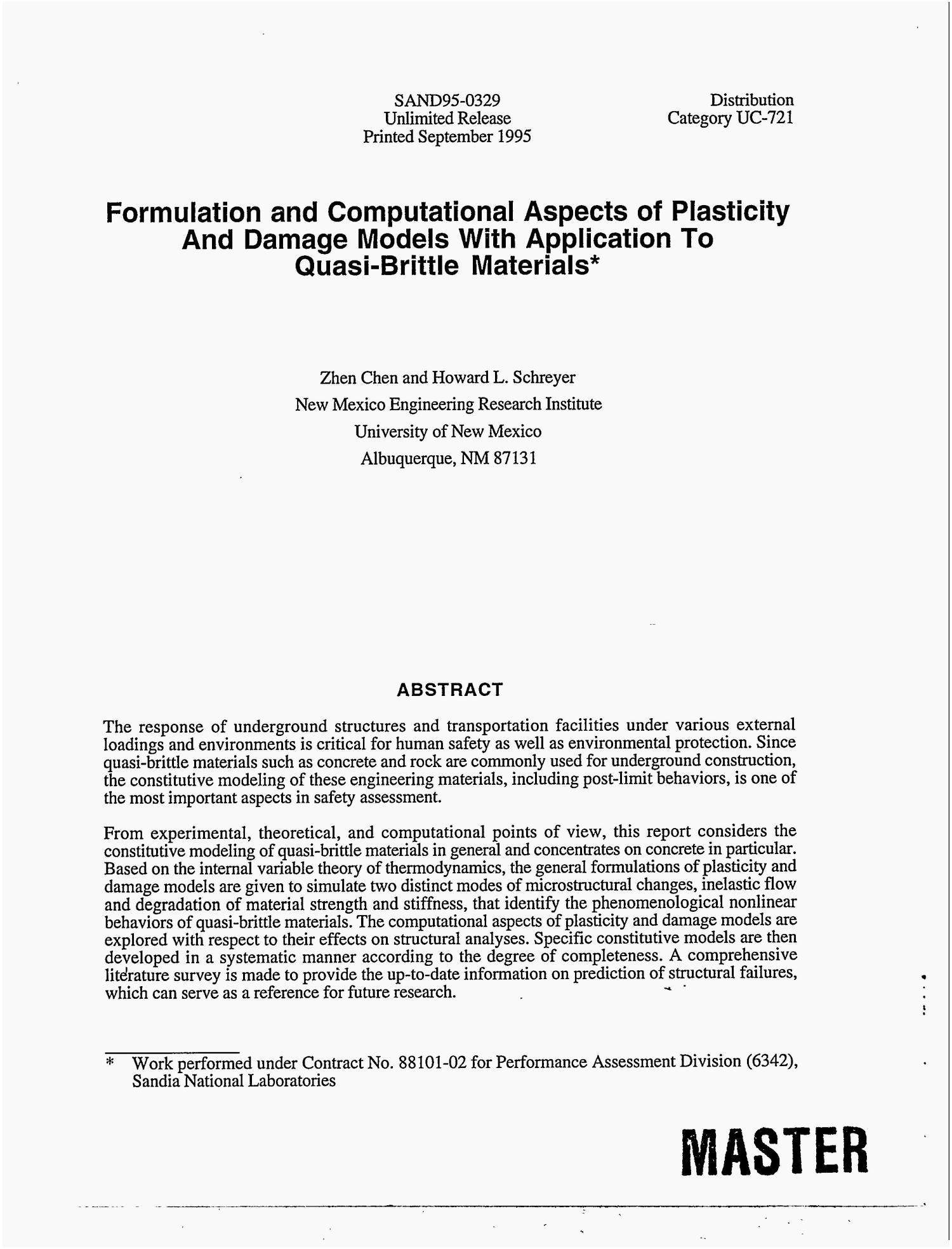 Formulation and computational aspects of plasticity and damage models with application to quasi-brittle materials                                                                                                      [Sequence #]: 3 of 120