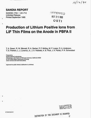 Primary view of object titled 'Production of lithium positive ions from LiF thin films on the anode in PBFA II'.