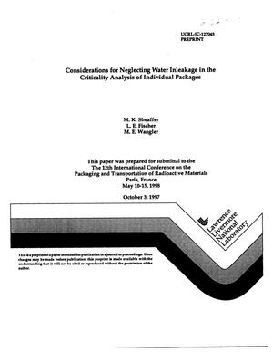 Primary view of object titled 'Considerations for neglecting water inleakage in the criticality analysis of individuals packages'.