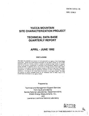 Primary view of object titled 'Technical data base quarterly report, April--June 1992; Yucca Mountain Site Characterization Project'.