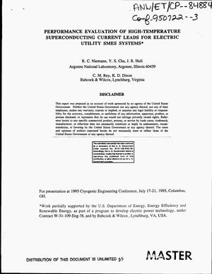 Primary view of object titled 'Performance evaluation of high-temperature superconducting current leads for electric utility SMES systems'.