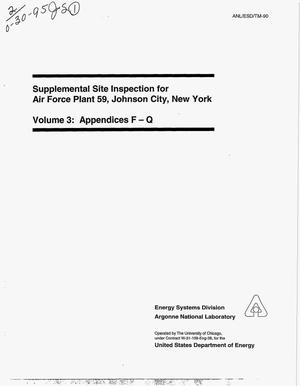 Primary view of object titled 'Supplemental site inspection for Air Force Plant 59, Johnson City, New York, Volume 3: Appendices F-Q'.