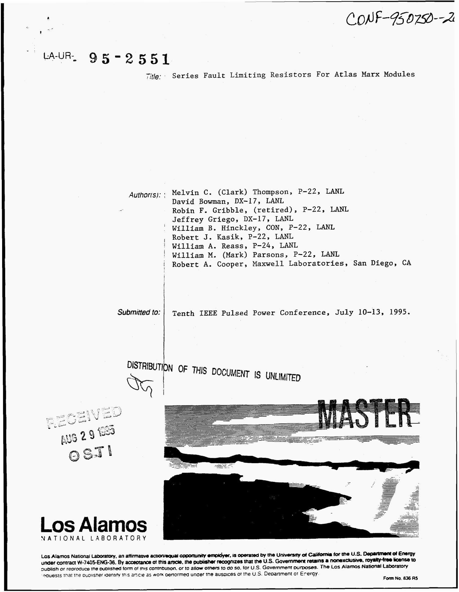 Series Fault Limiting Resistors For Atlas Marx Modules Digital Library