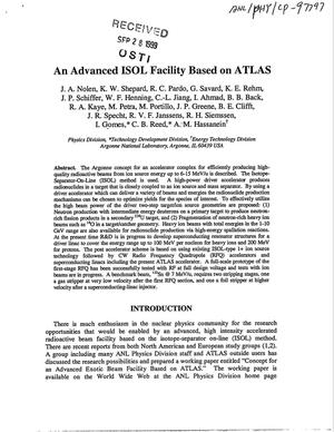 Primary view of object titled 'An advanced ISOL facility based on ATLAS.'.