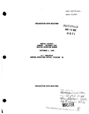 Primary view of object titled 'Reactor Operation Branch monthly reports, January--August 1955'.