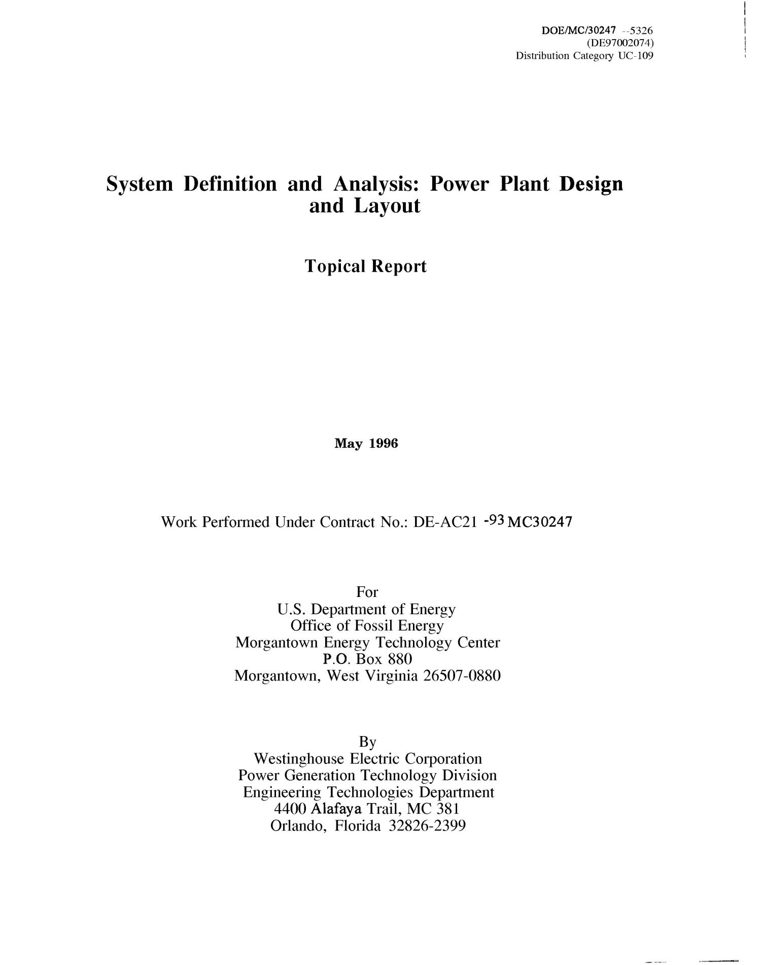System Definition and Analysis Power Plant Design and Layout