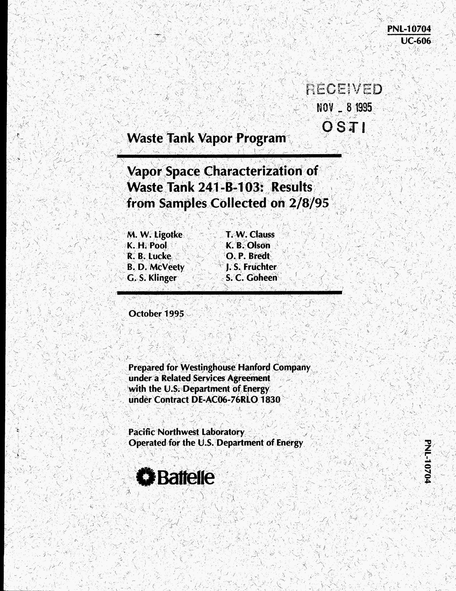 Vapor space characterization of waste Tank 241-B-103: Results from samples collected on 2/8/95                                                                                                      [Sequence #]: 1 of 45