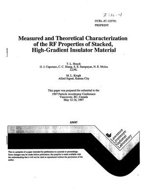 Primary view of object titled 'Measured and theoretical characterization of the RF properties of stacked, high-gradient insulator material'.