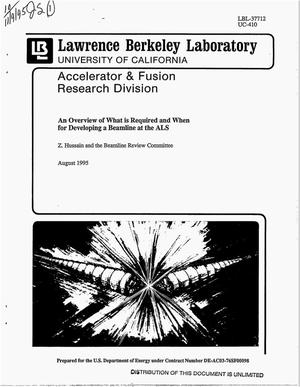 Primary view of object titled 'An overview of what is required and when for developing a beamline at the ALS'.