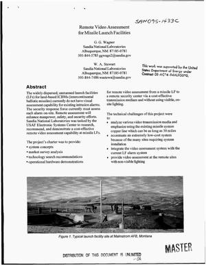 Primary view of object titled 'Remote video assessment for missile launch facilities'.