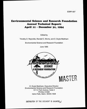 Primary view of object titled 'Environmental Science and Research Foundation. Annual technical report, April 11, 1994--December 31, 1994'.