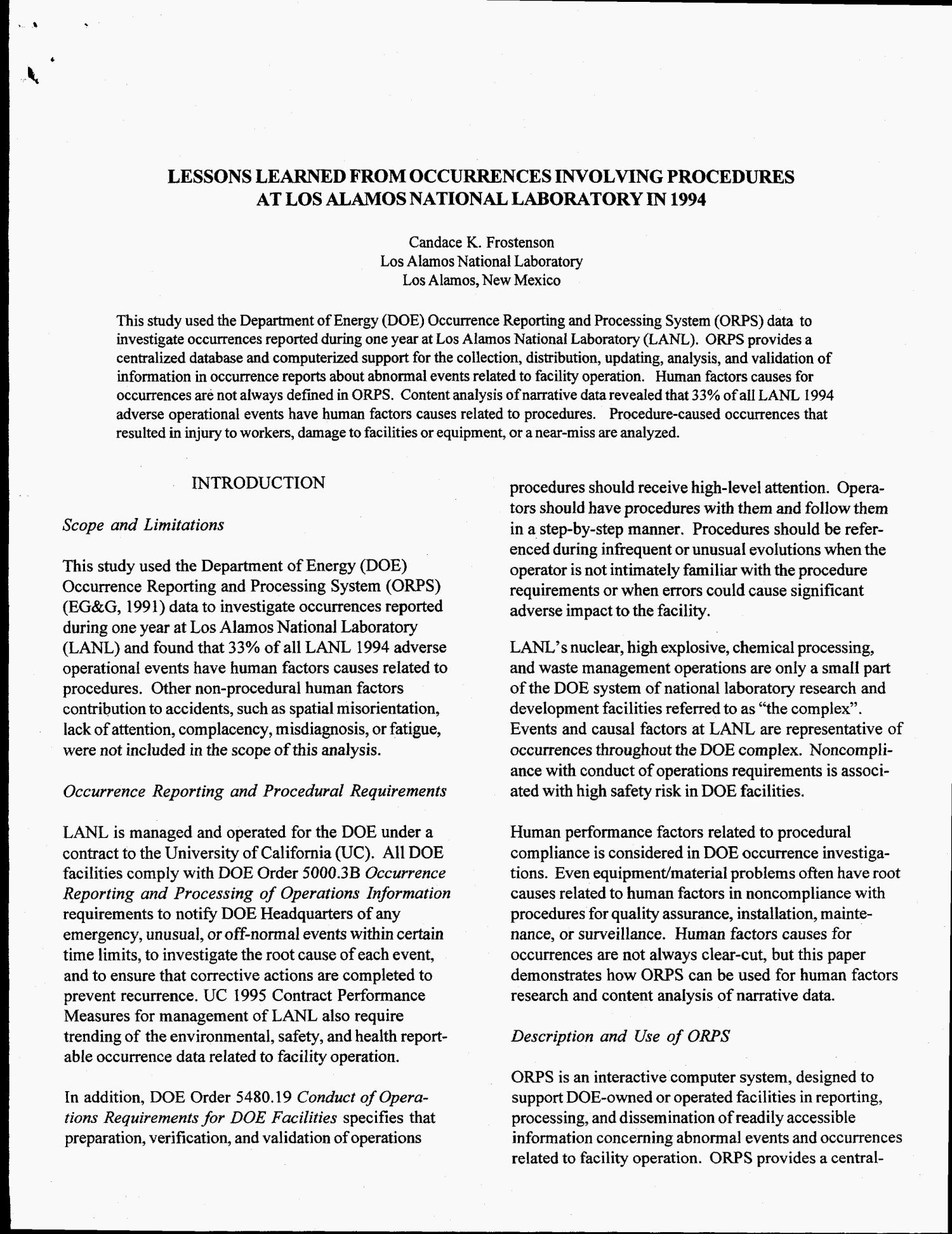 Lessons learned from occurrences involving procedures at Los Alamos National Laboratory in 1994                                                                                                      [Sequence #]: 3 of 7