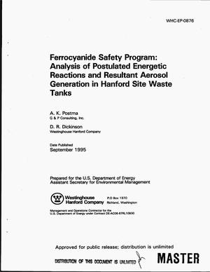 Primary view of object titled 'Ferrocyanide Safety Program: Analysis of postulated energetic reactions and resultant aerosol generation in Hanford Site Waste Tanks'.