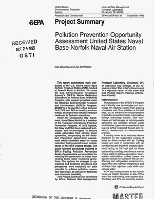 Primary view of object titled 'Pollution prevention opportunity assessment United States Naval Base Norfolk Naval Air Station. Project summary'.
