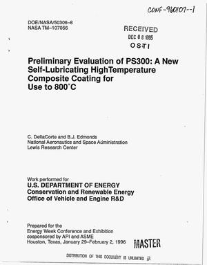 Primary view of object titled 'Preliminary evaluation of PS300: A new self-lubricating high temperature composite coating for use to 800{degrees}C'.