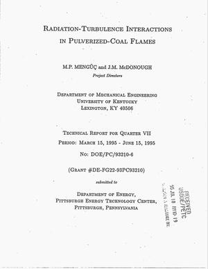 Primary view of object titled 'Radiation-turbulence interactions in pulverized-coal flames. Technical report for Quarter VII, March 15, 1995--June 15, 1995'.