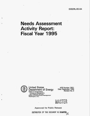 Primary view of object titled 'Needs assessment activity report: Fiscal year 1995'.