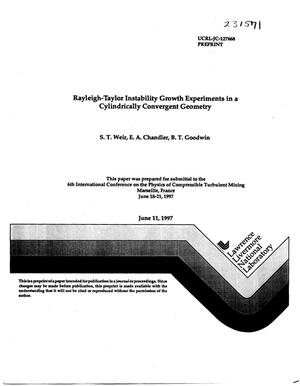 Primary view of object titled 'Rayleigh-taylor instability growth experiments in a cylindrically convergent geometry'.