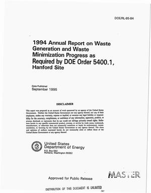 Primary view of object titled '1994 Annual report on waste generation and waste minimization progress as required by DOE Order 5400.1, Hanford Site'.