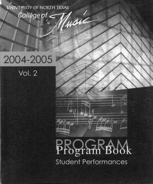 College of Music program book 2004-2005 Student Performances Vol. 2