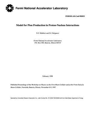 Primary view of object titled 'Model for pion production in proton-nucleus interactions'.