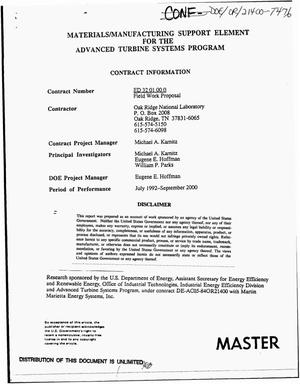 Primary view of object titled 'Materials/manufacturing support element for the Advanced Turbine Systems Program'.