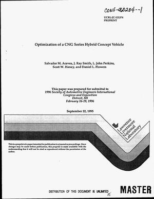 Primary view of object titled 'Optimization of a CNG series hybrid concept vehicle'.