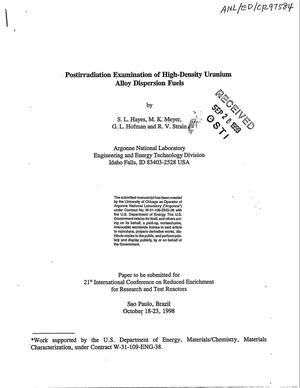 Primary view of object titled 'Postirradiation examination of high-density uranium alloy dispersion fuels.'.