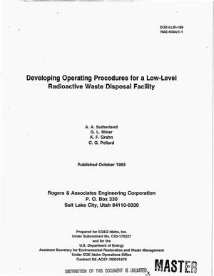 Primary view of object titled 'Developing operating procedures for a low-level radioactive waste disposal facility'.