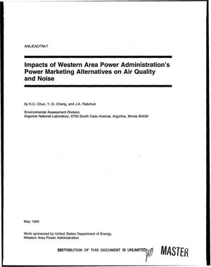 Primary view of object titled 'Impacts of Western Area Power Administration`s power marketing alternatives on air quality and noise'.