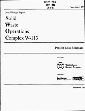 Primary view of object titled 'Solid Waste Operations Complex W-113, Detail Design Report (Title II). Volume 4: Project cost estimate'.