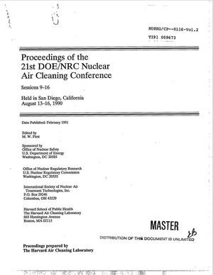 Primary view of object titled 'Proceedings of the 21st DOE/NRC nuclear air cleaning conference; Volume 2, Sessions 9--16'.